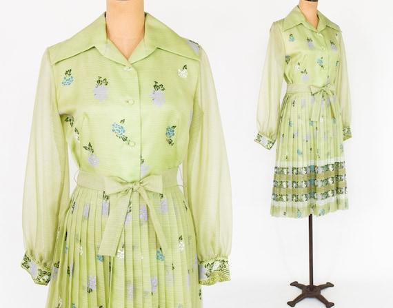 1970s Lime Green Hawaiian Screen Print Dress   70s