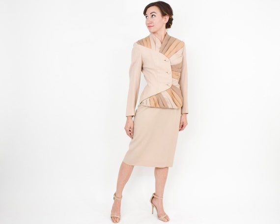 1950s Lilli Ann Beige Suit | 50s Beige Wool Strip… - image 3