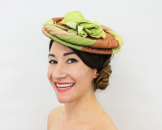 1940s Green Flower Tilt Hat   40s Green & Brown Sa
