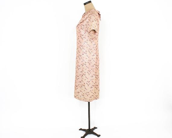 1960s Peach Brocade Dress | 60s Pink Metallic Bro… - image 2