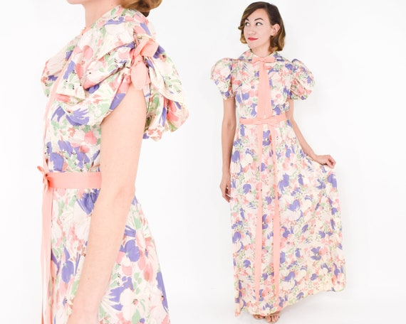 1930s Creme Floral Dress | 30s Peach Watercolor Pr