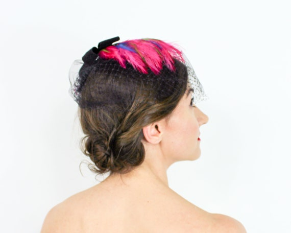 1950s Pink Feather Fascinator | 50s Magenta Feath… - image 5