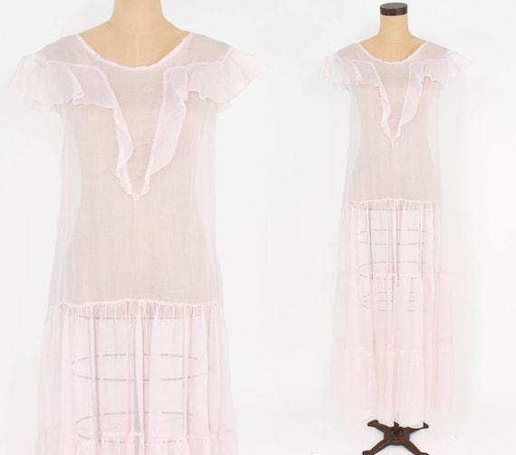 1930s Pink Evening Dress | 30s Pale Pink Organza L