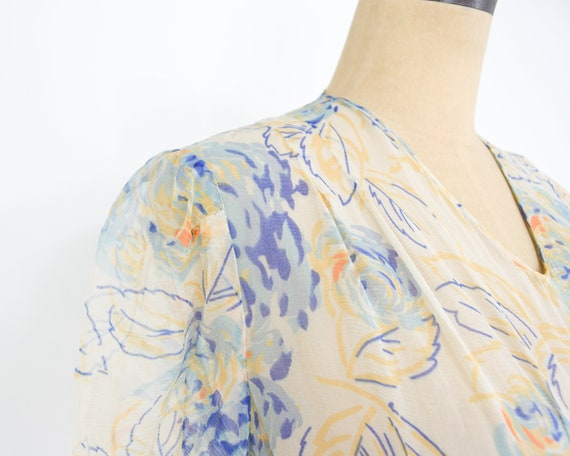 1920s Creme Flowered Silk Chiffon Dress | 20s Flo… - image 10