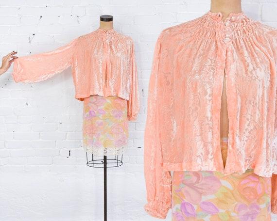 1940s Peach Velvet Bed Jacket | 40s Devore Burnout