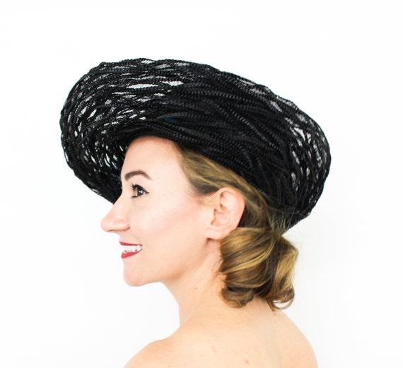 1960s Black Straw Brim Hat | 60s Black Raffia Wove
