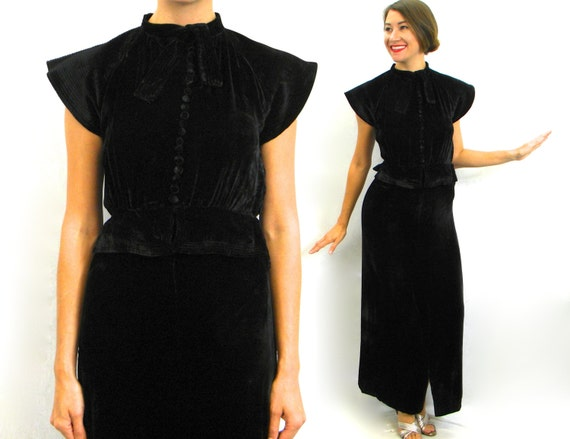 1930s Black Silk Velvet Gown | 30s Black Silk Velv