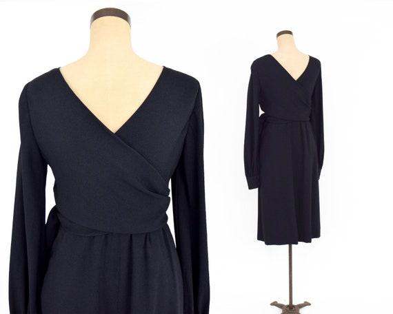 1960s Black Crepe Evening Dress | 60s Black Crepe… - image 9