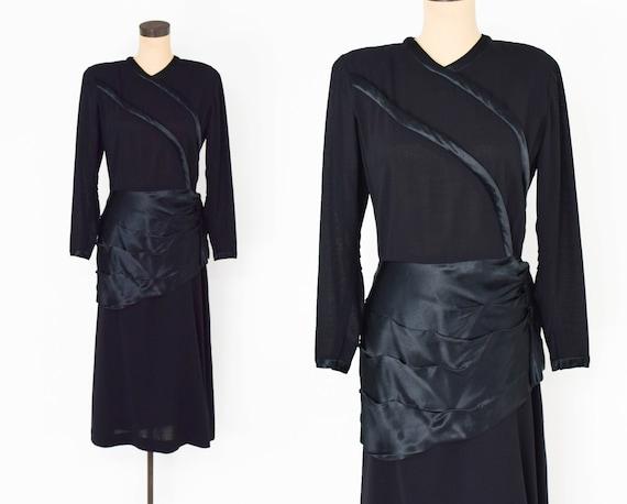 1940s Black Silk Cocktail Dress | 40s Black Silk &
