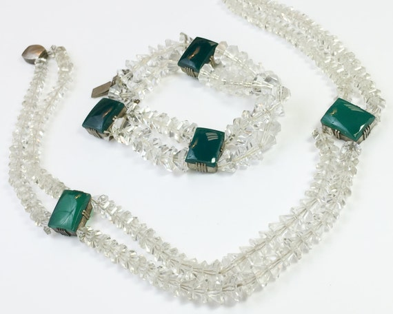 1930s Crystal Necklace Set | 30s Crystals Necklace