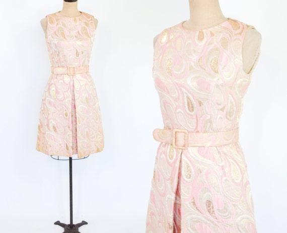 1960s Pink & Gold Metallic Brocade Dress | 60s Pin