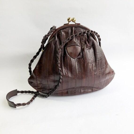 1980s Brown Eel Skin Leather Shoulder Bag   80s M… - image 6