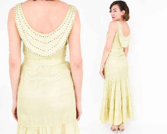 1930s Yellow Evening Dress | 30s  Chartreuse Green