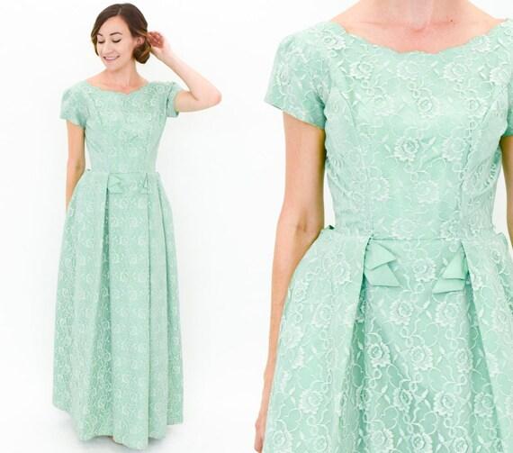 1950s Green Lace Evening Dress | 50s Mint Green Prom Dress | Emma Domb | Medium