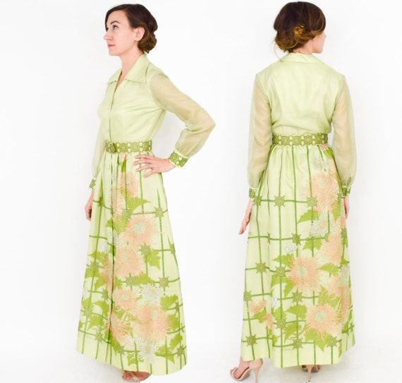 1970s Green Maxi Dress | 70s Lime Green Screen Pri