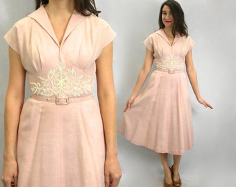 50s Pink Cotton Dress   Embroidered Day Dress   Georgette    Small