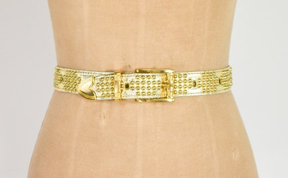 1980s Riveted Gold Leather Belt   80s Gold Leathe… - image 1