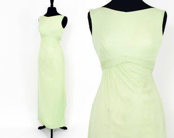 60s Green Evening Dress | Lime Green Chiffon Evening Dress | Prom Dress | Wedding | Small