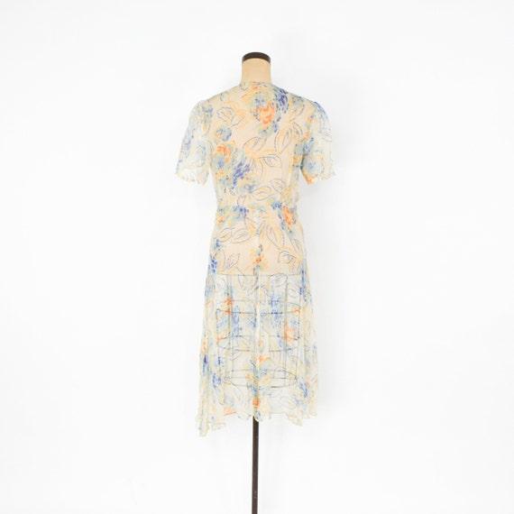 1920s Creme Flowered Silk Chiffon Dress | 20s Flo… - image 6