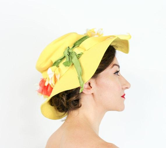 1970s Yellow Floppy Sun Hat | 70s Wide Brim Cotton