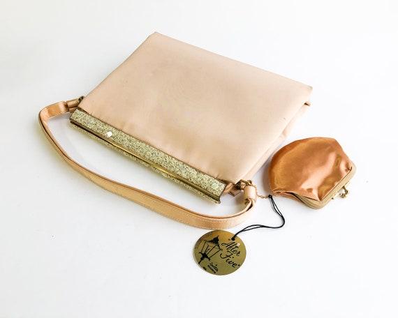 1950s Beige Satin Evening Bag | 50s Beige Silk Sat