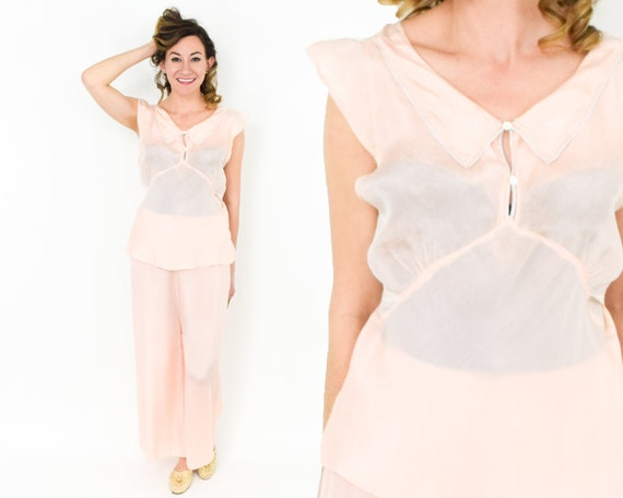 1930s Peach Silk Lingerie Set | 30s Pink Lounging