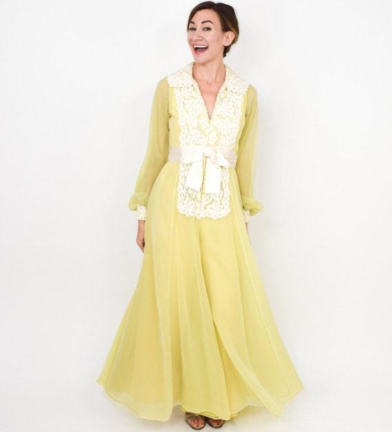 Luis Estevez | 1970s Yellow Palazzo Evening Dress… - image 3