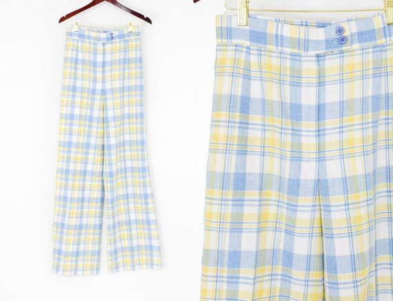 1970s Blue Plaid Pants | 70s Blue Yellow Plaid Sla