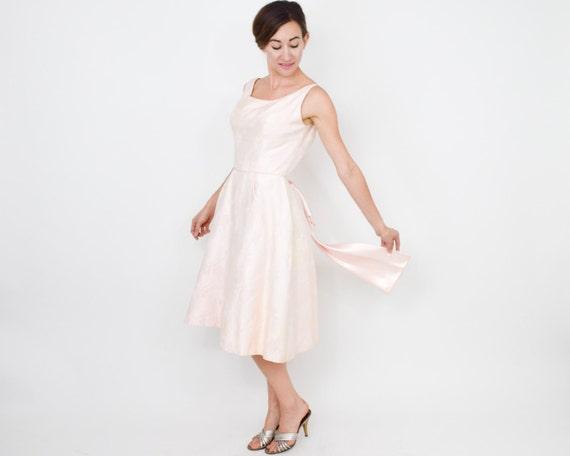 1950s Pink Brocade Party Dress | 50s Pink Brocade… - image 4