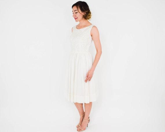 1950s White Chiffon Party Dress   50s White & Seq… - image 3
