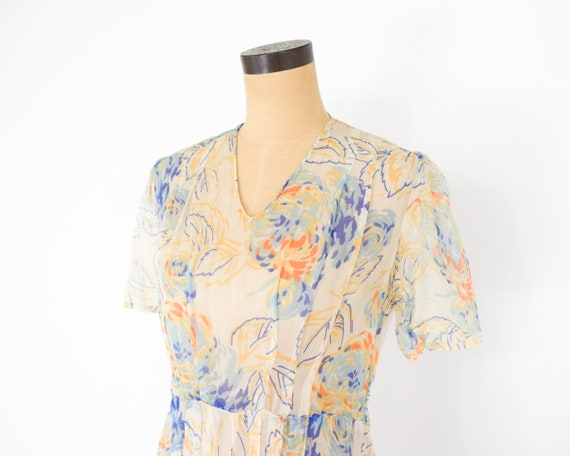 1920s Creme Flowered Silk Chiffon Dress | 20s Flo… - image 4