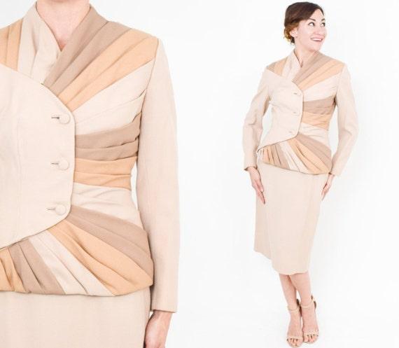 1950s Lilli Ann Beige Suit | 50s Beige Wool Stripe