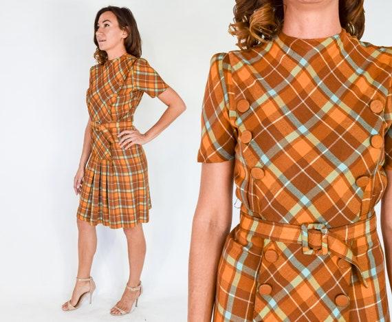 1940s Brown Plaid Dress | 40s Orange & Brown Plaid