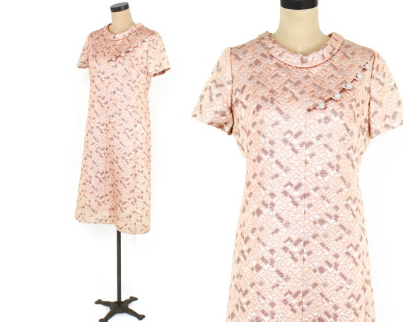 1960s Peach Brocade Dress | 60s Pink Metallic Bro… - image 5