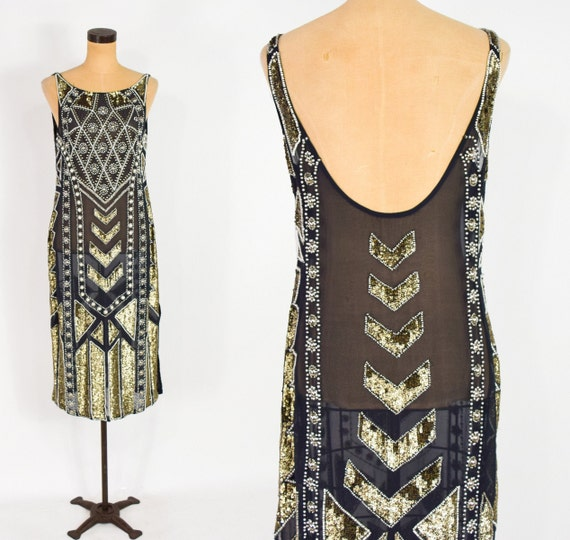 1920s Style Black & Gold Sequin Dress | 1980s Blac