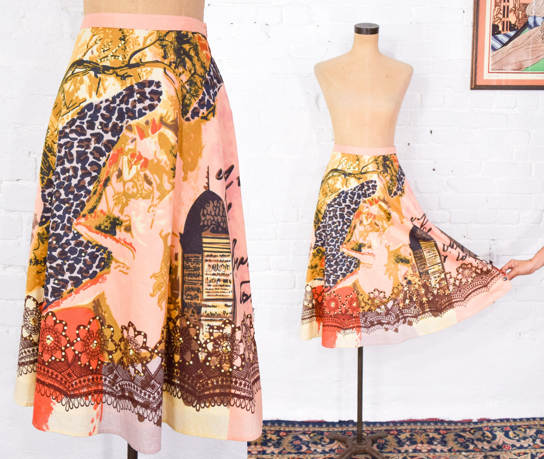 1950s Hats: Pillbox, Fascinator, Wedding, Sun Hats 1950S Style Swing Skirt  50S Orange  Leopard Print Circle Richard Malcolm Large $0.00 AT vintagedancer.com