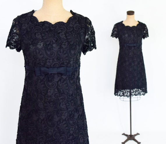 1960s Black Embroidery Lace Dress | 60s Black Lace