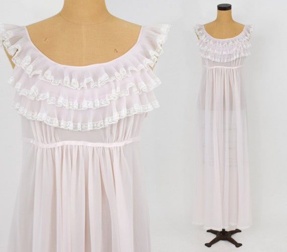 1950s Pink Ruffle Nightgown | 50s Pale Pink Nightg