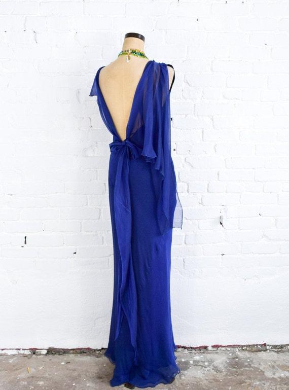 1990s Dark Blue Chiffon Evening Gown | 90s Blue I… - image 4