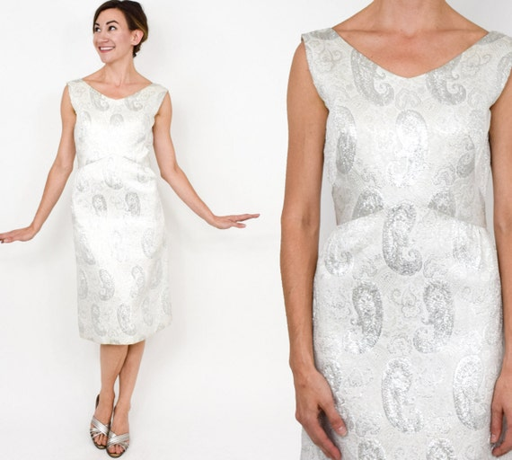 1960s White Brocade Dress | 60s White Metallic Sil