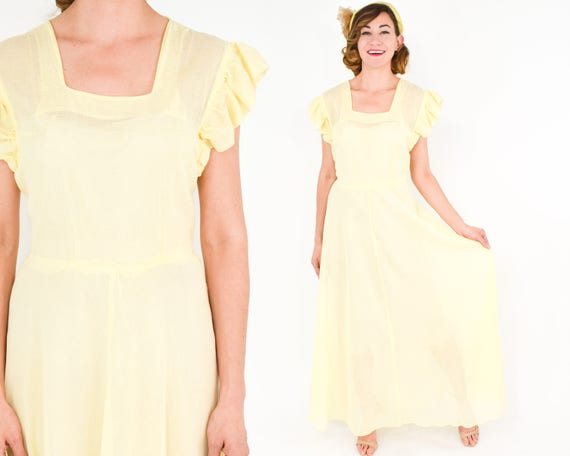 1930s Yellow Cotton Party Dress | 30s Yellow Sheer