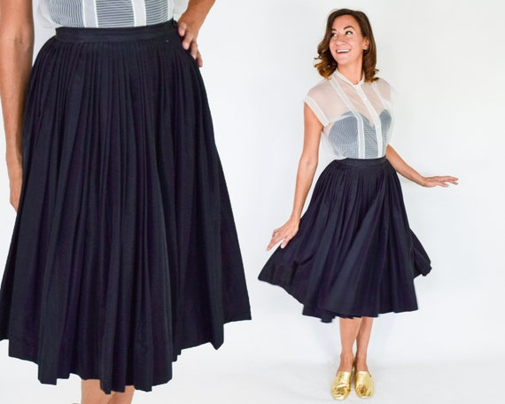 1950s Black Pleated Full Skirt | 50s Black Evening