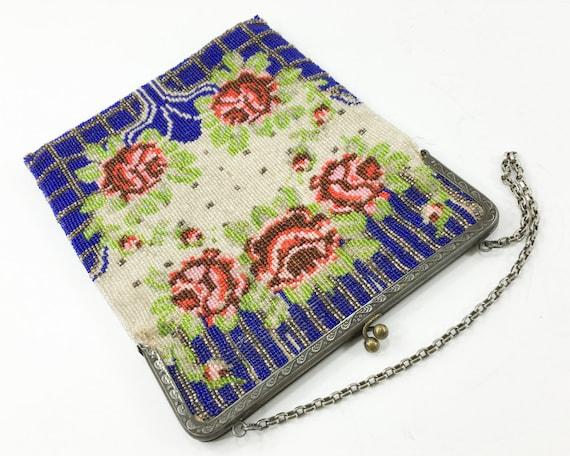 1900s Red Roses Beaded Handbag | Blue & Red Beade… - image 3