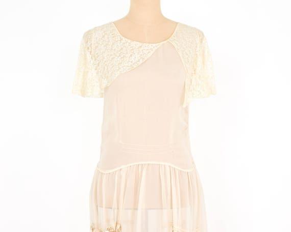 1920s Ivory Silk Chiffon Dress | 20s Ivory Chiffo… - image 3