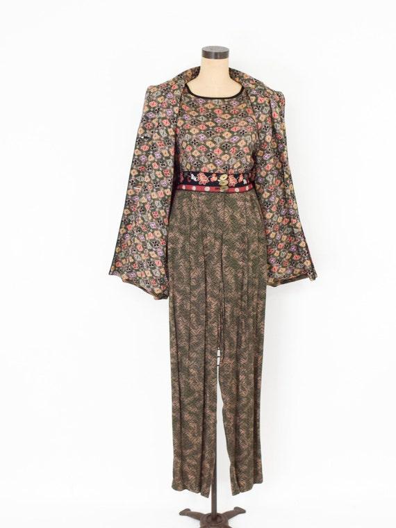 1980s Brown Rayon Pant Jacket Set | 80s Tiger Pri… - image 4
