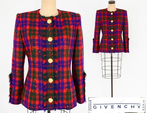 1990s Givenchy Plaid Jacket | 90s Purple Red Plaid