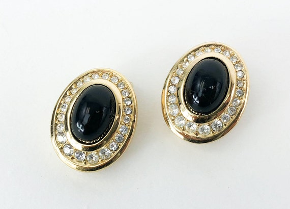 1980s Black & Gold Earrings | 80s Rhinestone Oval