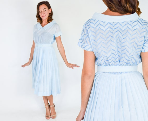 1950s Blue Cotton Dress | 50s Light Blue Rayon Cot