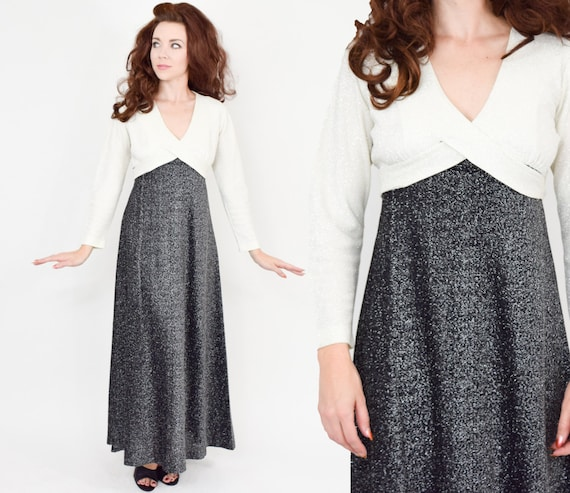 1970s Black & White Metallic Maxi Dress | 70s Gray