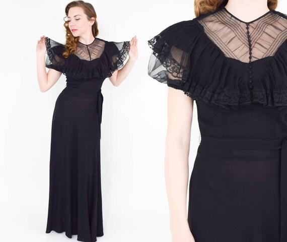 1940s Black Crepe Evening Dress | 40s Black Lace … - image 1
